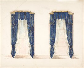 Design for Blue and Gold Curtains with Gold Fringes and a Gold Pediment, early 19th century.