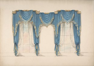 Design for Blue Curtains with Gold Fringes and Pediments, early 19th century.