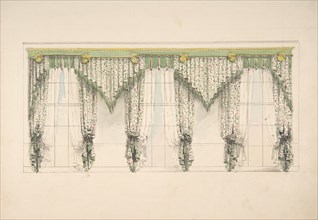 Design for Curtains with Pink, Green and White Floral Fabric and Pink and Green Fringes, ca. 1820.