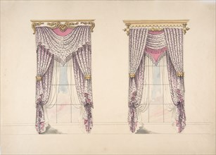 Design for Curtains with Purple, White and Mink Fabric, Purple Fringes and Gold and White Pediments, early 19th century.