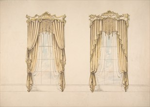 Design for Gold Curtains with Gold Fringes and a Gold and White Pediment, early 19th century.