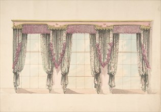 Design for Gray and Pink Curtains with Pink Fringes and a PInk and Gold Pediment, early 19th century.