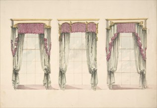 Design for Gray Curtains with Pink Fringes, and White and Gold Pediments, ca. 1820.