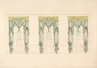 Design for Green and White Curtains with Green Fringes and a Green and Gold Pediment, early 19th century.