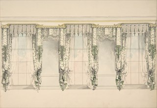Design for Green and White Curtains with Green Fringes, and White and Gold Pediments, ca. 1820.