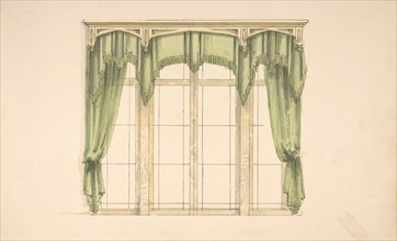 Design for Green Curtains with Green Fringes and a Gold Pediment, early 19th century.