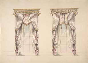 Design for Pink and White Curtains with Gold Fringes, and Gold and White, early 19th century.