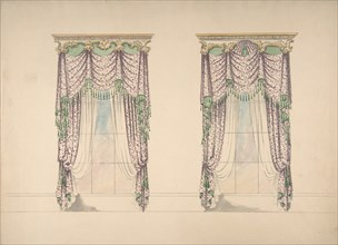 Design for Pink and White Curtains with Green Fringes, and Gold and White Pediments, ca. 1820.
