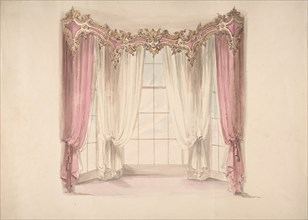 Design for Pink Curtains and White Inner Curtains, with a Gold, White and Pink Pediment, early 19th century.
