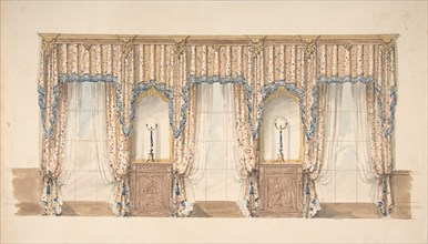 Design for Pink, Gold, Blue and White Curtains with Blue Fringes and a Gold and Wood Pediment, early 19th century.