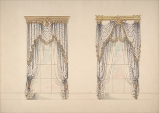 Design for Pink, Green and White Curtains with Gold and Red Fringes, and Gold Pediments, ca. 1820.