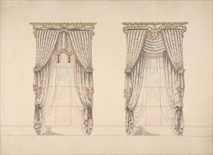 Design for Pink, Green and White Curtains with Pink and Gold Fringes and a Gold and White Pediment, early 19th century.