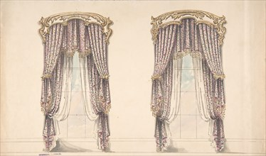 Design for Pink, Mauve and White Floral Curtains with a Gold and White Pediment, early 19th century.