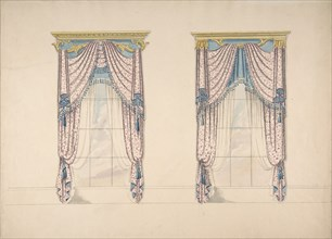 Design for Pink, White and Blue Curtains with Blue Fringes, and Gold and Blue Pediments, ca. 1820.