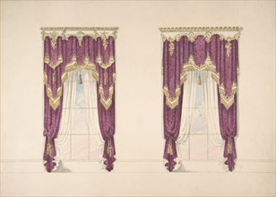 Design for Purple Curtains with Gold Fringes and a Gold and White Pediment, early 19th century.
