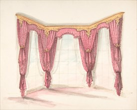Design for Red Curtains with a Gold Pelmet, early 19th century.