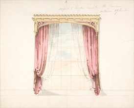 Design for Red Curtains with a Gothic Style Gold Pediment, early 19th century.