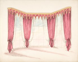 Design for Red Curtains with a Red and Gold Pelmet, early 19th century.