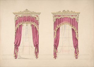 Design for Red Curtains with Gold Fringes and a Gold and White Pediment, early 19th century.