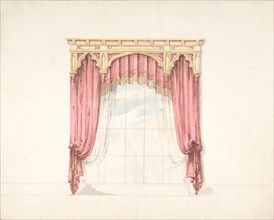 Design for Red Curtains with Gold Fringes and a Gold Gothic Pediment, early 19th century.