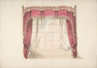 Design for Red Curtains with Gold Fringes and a Gold, Red and White Pediment, early 19th century.