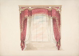 Design for Red Curtains with Gold Fringes and Gold and White Pediment, early 19th century.