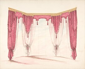 Design for Red Curtains with Red Fringes and a Gold Pediment, early 19th century.