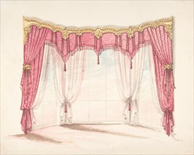 Design for Red Fringed and Tasseled Curtains with a Gold Pelmet, early 19th century.