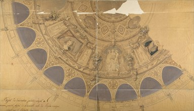 Design for the decoration of the ceiling in the Opéra Comique, Paris, ca. 1845.