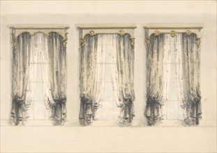 Design for Three Sets of Gray Curtains , with Gray and Gold Pediments, early 19th century.