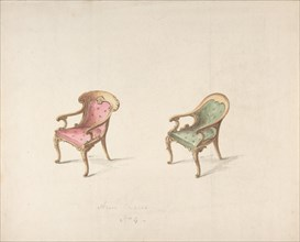 Design for Two Armchairs with Red and Green Upholstery, early 19th century.