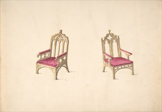 Design for Two Gothic Style Armchairs, early 19th century.