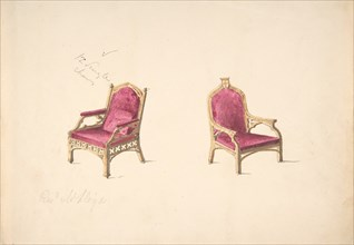 """Design for Two Medieval Style Armchairs for """"Rev. W. Lloyd"""", early 19th century."""