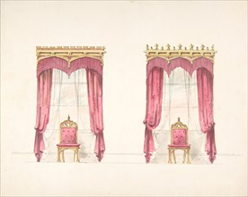 Design for Two Red Fringed Curtains with Gold Pelmets, early 19th century.