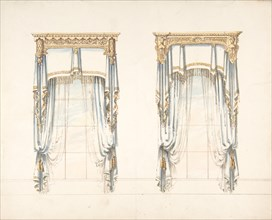 Design for Two White Curtains with Gold Fringes and a Gold Pediment, early 19th century.