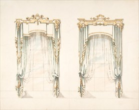 Design for Two White Curtains with Gold Fringes and a White and Gold Pelmets, early 19th century.