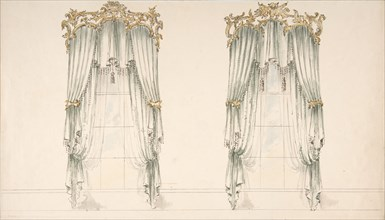 Design for White Curtains with White Fringes and a Gold and White Pediment, early 19th century.