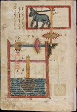 Design on Each Side for Waterwheel Worked by Donkey Power, Folio from a Book of the Knowledge of Ingenious Mechanical Devices by al-Jazari, dated A.H. 715/ A.D. 1315.