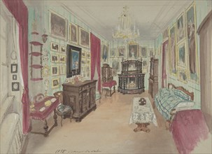 Drawing of an Interior: Cabinet du Salon, 1855.