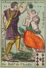 Hab.t de l'Acadie from Playing Cards (for Quartets) 'Costumes des Peuples Étrangers', 1700-1799.