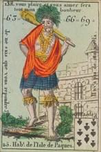 Hab.t de l'Isle de Paques from Playing Cards (for Quartets) 'Costumes des Peuples Étrangers', 1700-1799.