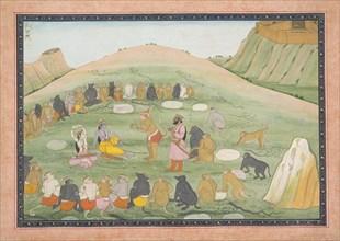 Hanuman Revives Rama and Lakshmana with Medicinal Herbs: Illustrated folio from a dispersed Ramayana series, ca. 1790.