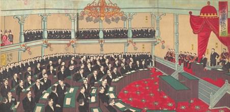 Illustration of The Imperial Assembly of the House of Peers (Teikoku gikai kizokuin no zu), 1890.