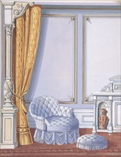 Interior Design for a Gray Curtained Alcove, with an Uphostered Armchair, Ottoman and Cabinet, late 19th century (?).