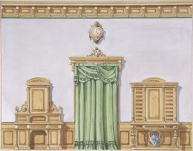 Interior Design with a Central Door Covered by Green Drapery and Two Cabinets, late 19th century (?).