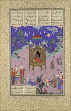 Kai Kavus Ascends to the Sky, Folio 134r from the Shahnama (Book of Kings) of Shah Tahmasp, ca. 1525-30.