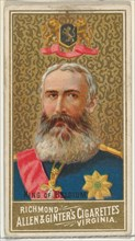 King of Belgium, from World's Sovereigns series (N34) for Allen & Ginter Cigarettes, 1889.