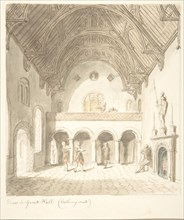 Lea Castle, Worcestershire, View in the Great Hall, Looking West, ca. 1816.