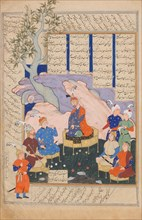 Luhrasp Hears from the Returning Paladins of the Vanishing Kai Khusrau, Folio from a Shahnama (Book of Kings) of Firdausi, 1576-77.