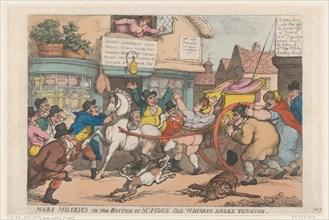 More Miseries: The Bottom of Mr Figg's Old Whiskey Broke Through, 1807.
